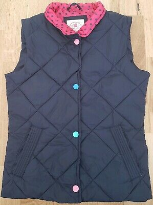 Harvey & Jones original just kids 7-8 years girl gilet quilted blue pink spotted