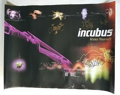 INCUBUS REAL hand SIGNED 18x24 Make Yourself Poster #2 COA all 5 Brandon Boyd +4