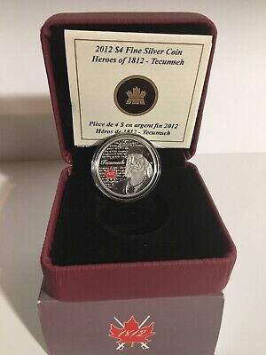 2012 Four Dollar Find Silver Coin Heroes Of 1812 Tecumseh