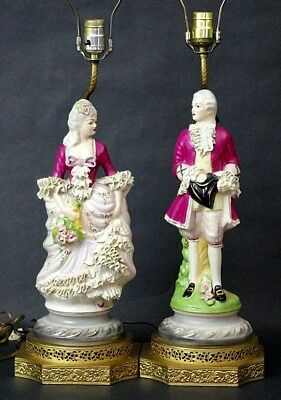 Vtg Pair Dresden Continental Chantilly Figural Victorian Porcelain Table Lamps