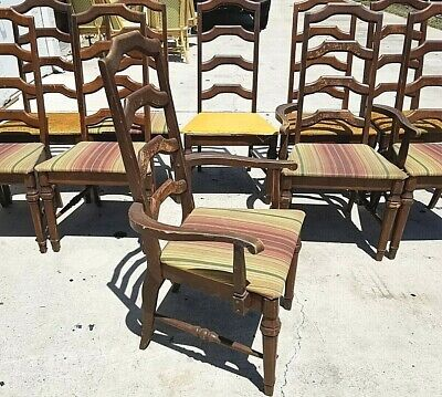 Set of 10 Vintage Ladderback Ladder Back Wood Dining Chairs