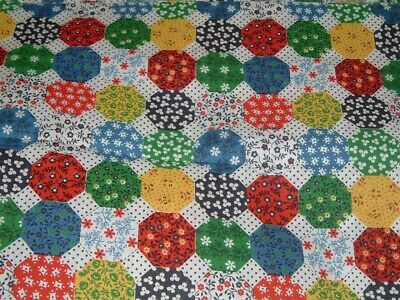 Vtg 70s Calico Small Flower Power Hex Cotton Quilt Sew Doll Fabric 54x42 #pb6