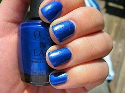 OPI Nail Polish Lacquer ~Blue My Mind NL B24~ Electric Blue Shimmer 0.5 oz/15 ml