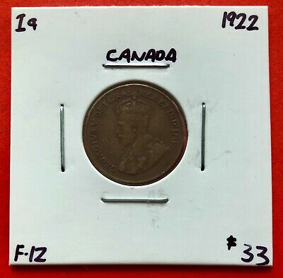 1922 Canada One Cent Penny Coin - $33 F-12