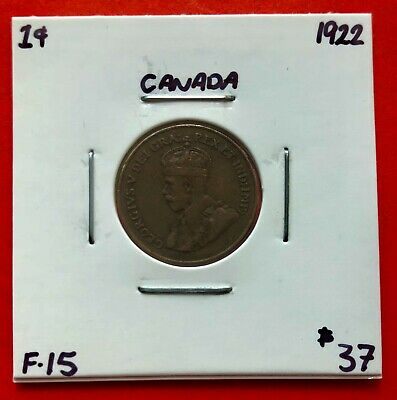 1922 Canada One Cent Penny Coin - $37 F-15