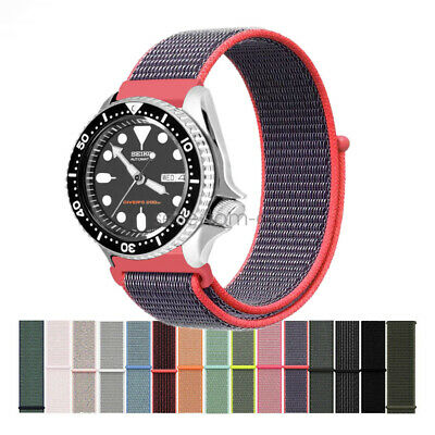 Woven Nylon Sport Loop Watch Band Strap for Seiko Diver's Watch 20mm 22mm Lug