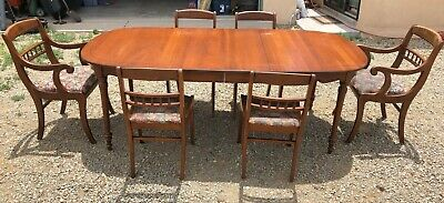 Unique Antiques: China hutch and Mahogany dining table by Tell City Chairs Co.