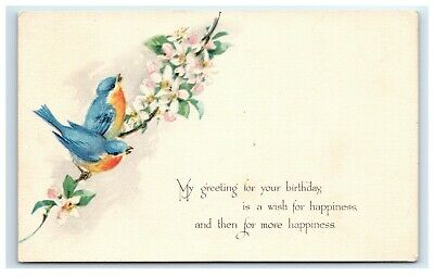 Postcard My Greeting for Your Birthday two blue birds on branch flowers 1924 C52