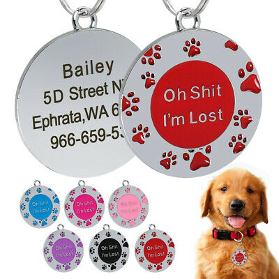 Round Personalized Dog ID Tags Paw Print Engraved Dog Name Customized for Free