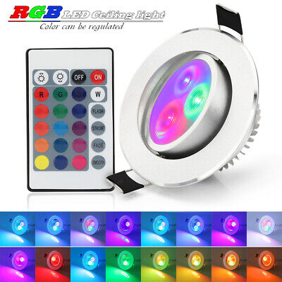 Multi Color Change 5W RGB LED Recessed Ceiling Light Downlight Spot Lamp+Remote
