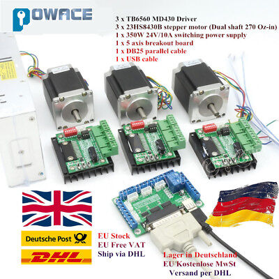 【Ger】3 Axis Nema23 Stepper Motor 270Oz-in 3A 76mm&TB6560 Driver&Power Supply Kit