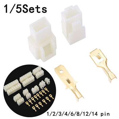 1/5 Sets 6.3mm 1/2/3/4/6/8/12/14 pin Automotive 6.3 Electrical wire Connector~