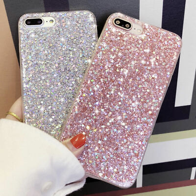 For iPhone 11 Pro Max 8 Plus XR XS Bling Glitter Silicone Shockproof Case Cover