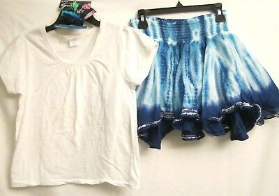 2 Piece Lot Girls Size 10 Top & Justice Skirt with Bonus Hair Elastics