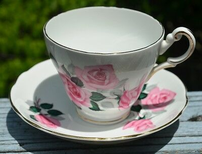 Regency English Bone China Cup And Saucer Duo With Pink Roses From England