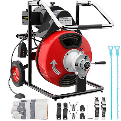 """Pipe Drain Cleaner 250W Drain Cleaning Machine 50ft x 1/2"""" Cable w/ 5 Cutters"""