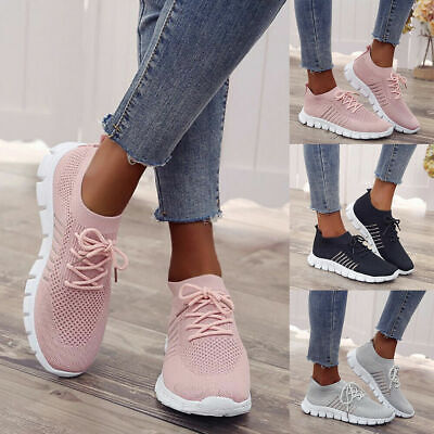 Womens Ladies Breathable Mesh Trainers Sneakers Running Pumps Shoes Size 5-9