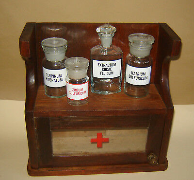 ANTIQUE PRIMITIVE APOTHECARY MEDICAL MEDICINE CABINET WOOD glass RED CROSS