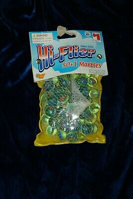 Vintage Gordy Toy Hi-Flier Marbles Cat's Eyes Multi-color New! Pack 50 + 1