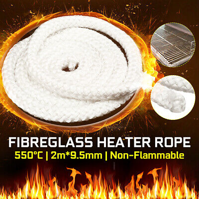 Fire-resistant 500°C🔥 9.5mm 2M Wood Fire Stove Seal Fibreglass Heater Rope AU