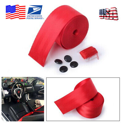 Red 380cm Harness 3 Point Car Racing Front Retractable Safety Lap Seat Belt -USA