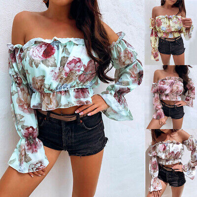 Women Flare Sleeve Ruffles Stretch Blouse Summer Floral Off Shoulder Crop Tops