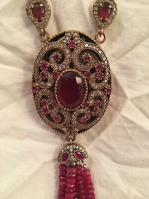 """Antique Victorian Ruby and Genuine Diamond  Statement Necklace. 20"""""""