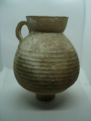 Authentic Ancient Cypriot Pottery Jug with Handle 155 mm. 4th - 1st Century B.C.