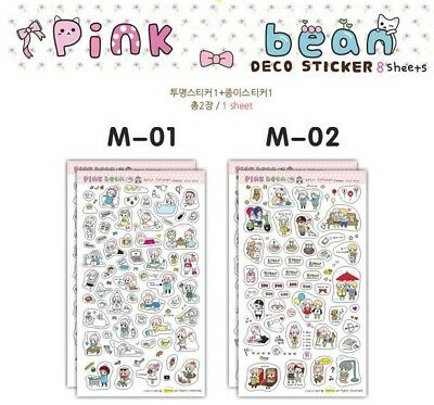 Cute cartoon Pink Bean Girl pvc stickers notebook diary decoration 4 sheets/set