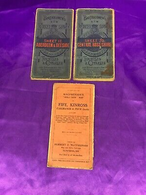 2 X Vintage Bartholomew's Tourist & Cyclists Maps And 1 MacPersons Half Inch Map