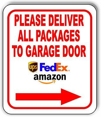 141bc87c9cc6 DELIVER PACKAGES HERE Delivery Instruction Arrows Sign METAL 3 SIZES ...