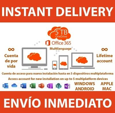 INSTANT Office 365 pro 2016/2019 PC/Mac Windows 5TB 5User Lifetime download 💯