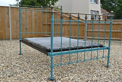 Quirky Antique Victorian Brass Iron Double 4ft 6in Bedstead and sprung bed base