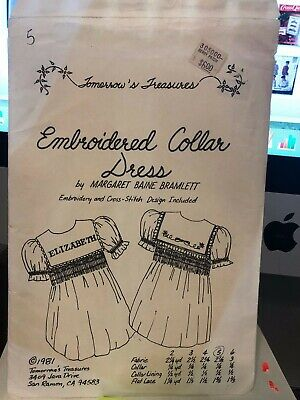 Embroidered Collar dress pattern by Margaret Bramlett - size 5 - vintage