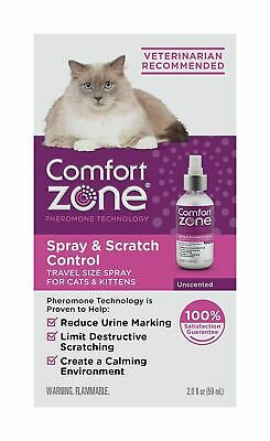 COMFORT ZONE Spray & Scratch Control CALMING SPRAY For CATS 2oz TRAVEL Size *NEW