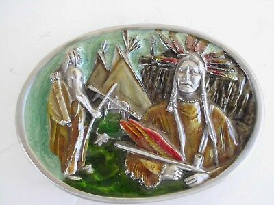 BELT BUCKLE NATIVE AMERICAN INDIAN ENAMEL1984  MADE IN USA BERGAMONT S-149 mys
