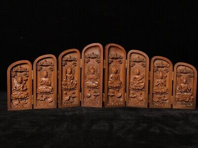 "16"" Chinese old antique Boxwood wooden handcarved Buddha statue"