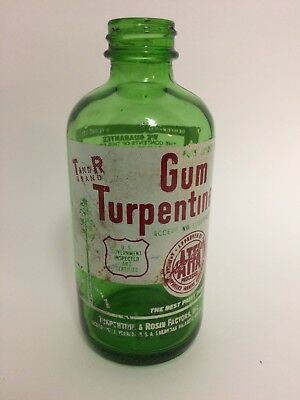 VINTAGE 1939 GUM Turpentine Glass Bottle Green with Original Cap