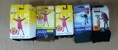 15 Pairs Girls 70 Denier & Elle Fashion Assorted Tights Size 7-10 Years Job Lot