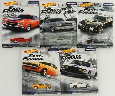 Fast and & Furious 1/4 Mile muscle Set 5 pcs GWB75 1:64 Hot Wheels