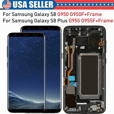 For Samsung Galaxy S8 S8 Plus LCD Display Touch Screen Digitizer+Frame Black US