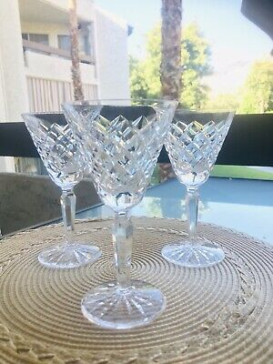 3 Waterford Signed Alana Cut Glass Crystal Cocktail Martini Glasses-Perfect