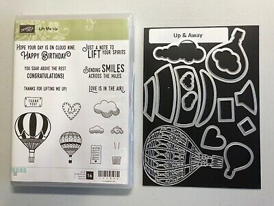 Stampin Up LIFT ME UP with Thinlits - Hot Air Balloons Clouds Lots of Sentiments