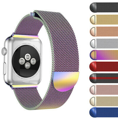 1X 2X Magnetic Milanese iWatch Loop Band Strap for Apple Watch 38mm/40/42/44mm