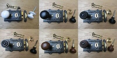 ANTIQUE IRON CAST IRON DAVENPORT LOCK + old vintage retro rim door knob handles