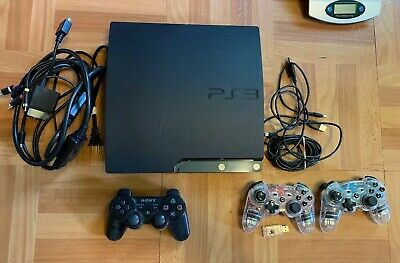 Sony PlayStation 3 Slim Charcoal Black Console Tested and Works with Controllers
