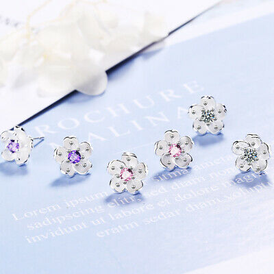 Hot Fashion Jewelry 925 Sterling Silver Crystal Cherry Blossoms Stud Earrings