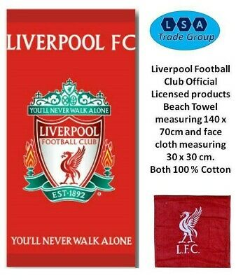 Liverpool Football Club LFC Crest 100 % Cotton Beach Towel with facecloth