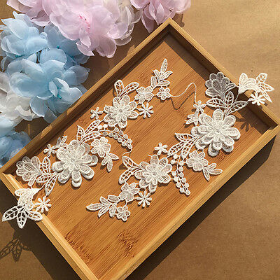 Flower Embroidery Motif Lace Applique Patch DIY Sewing Trimming Dress