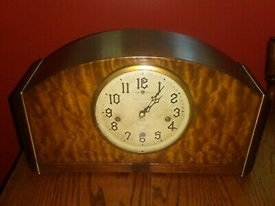 Antique New Haven 8-Day Westminster Chime Mantle Clock, Art Deco Orleans Model